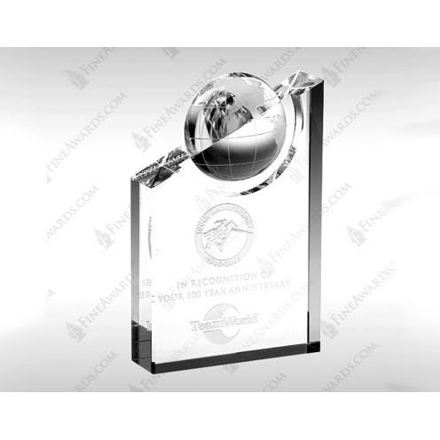 Clear Crystal Pinnacle Globe Award