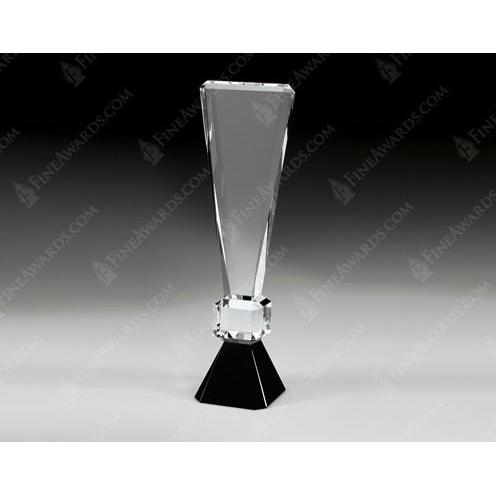 Clear Optical Crystal Exclamation point Award on Black Base