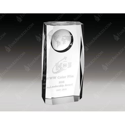 Clear Optical Crystal Super Globe Award