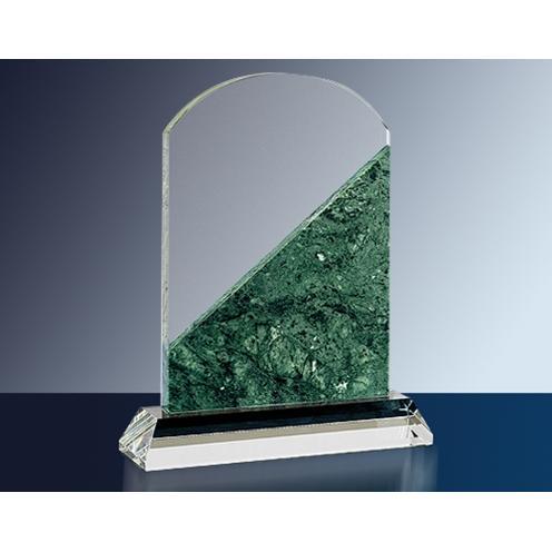 Optical Crystal & Green Marble Arch Top Award