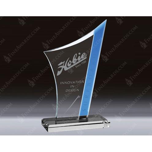 Clear Crystal Atlantic Award with Blue Highlight