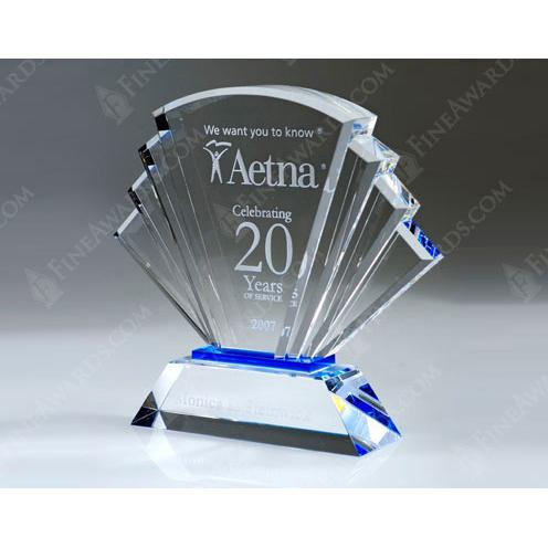 Clear Crystal Prosperity Award with Blue Accent