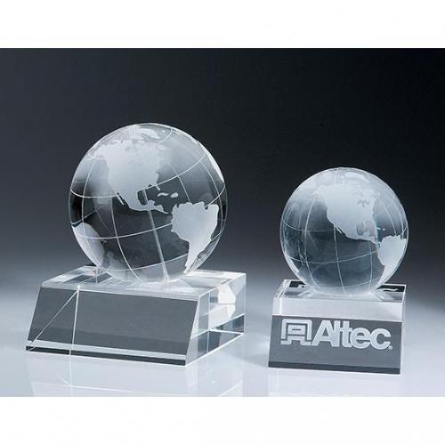 Clear Crystal Top Globe Paperweight