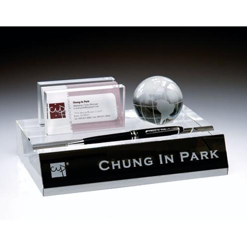 Executive Optical Crystal Deskset with Sphere Globe & Crystal Pen Set
