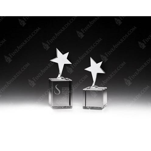 Metal Star Award on Clear Crystal Base