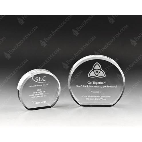 Clear Optical Crystal Disc Plaque