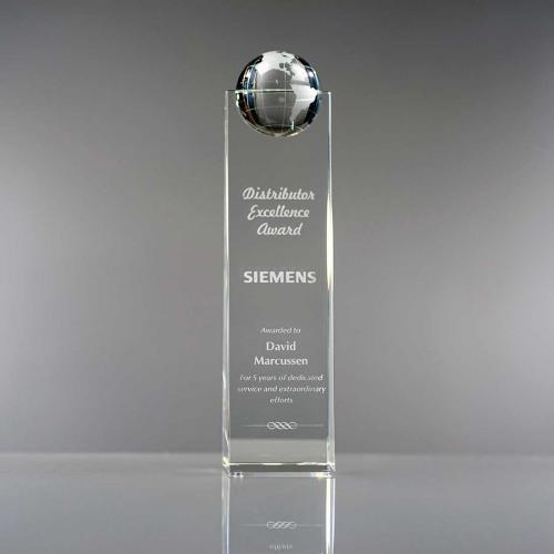 Clear Optical Crystal Globe Tower Award