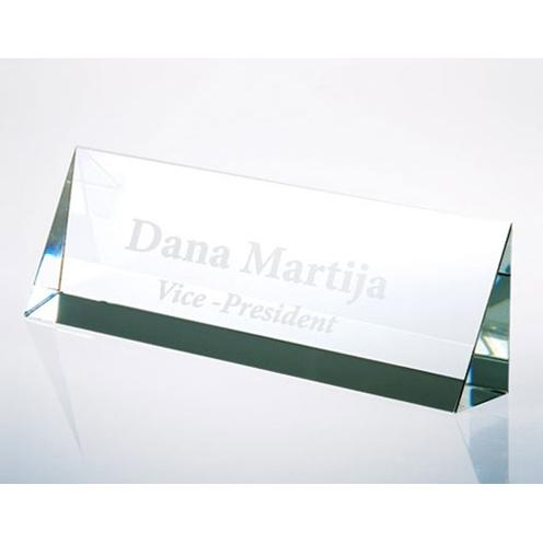 Clear Crystal Triangular Prism Name Plate