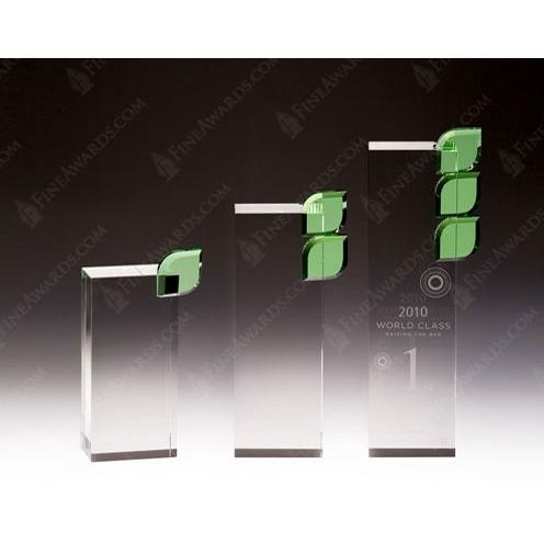 Clear Glass Palate Award with Green Leaf Crystal