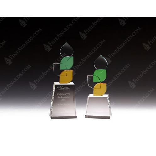 Clear Glass Palate Award with Various Multi Color Leaf Crystal