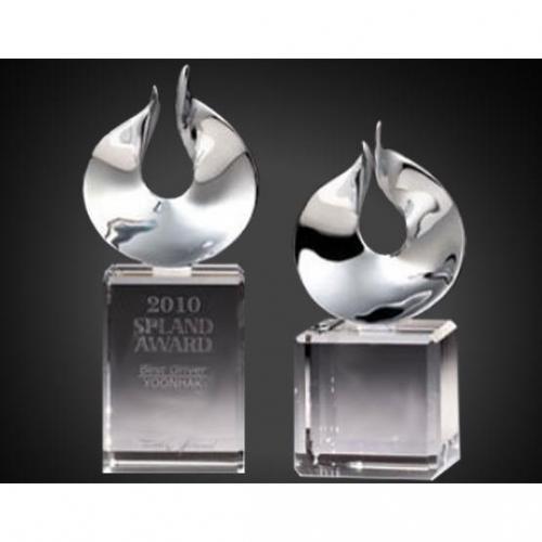 Chrome & Optical Crystal Solid Flame Award