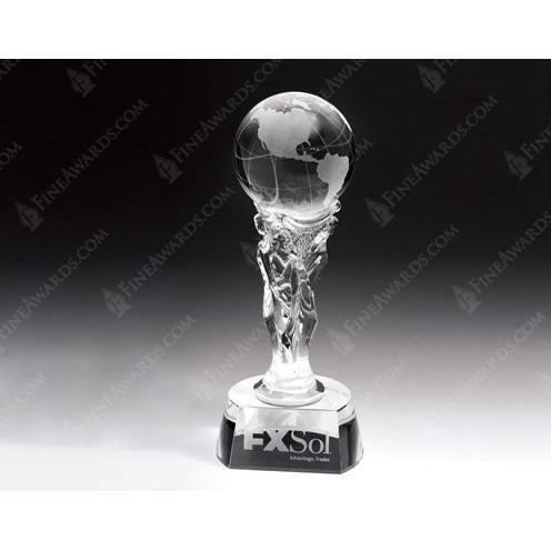 Clear Crystal Athena Globe Tower Award