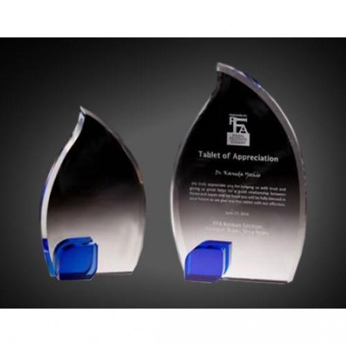 Blue & Clear Crystal Flame Award
