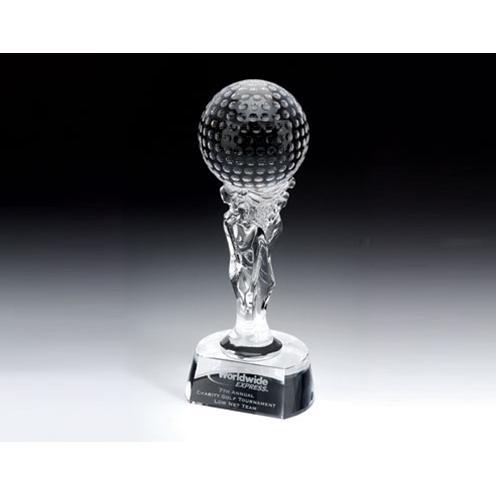 Crystal Ishtar Golf Award on Circular Base