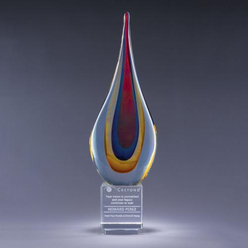 Multi Color Torchier Art Glass Flame Award with Optical Crystal Base