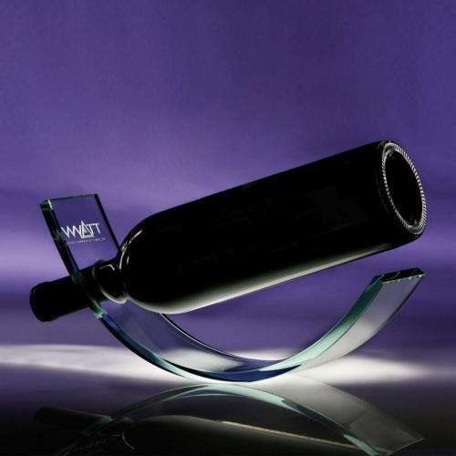 Clear Jade Glass Wine Cradle Bottle Holder