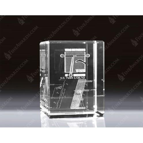 Small Clear Optical Crystal 3D Rectangle