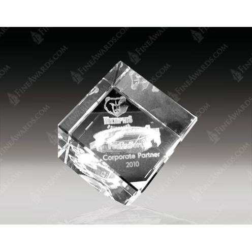 Clear Crystal 3D Cut Corner Cube