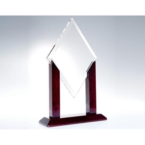 Alpha Diamond Optical Crystal Award on Wood Base